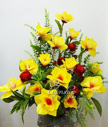 Hoa lụa, hoa giả Uyên shop, Bình Mộc Lan nghệ thuật