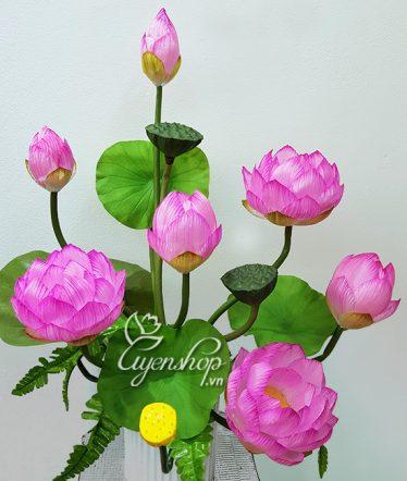 Hoa lụa, hoa giả Uyên shop, Bình Sen Hồng