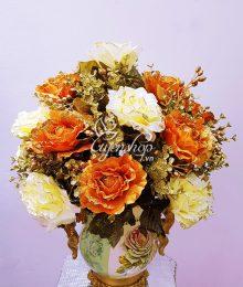 Hoa lụa, hoa giả Uyên shop, Bình Hoa Hồng Đẹp