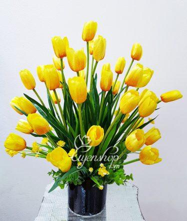 Hoa lụa, hoa giả Uyên shop, Bình Hoa Tulip vàng