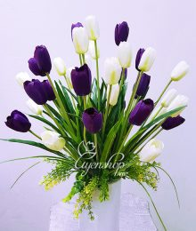 Hoa lụa, hoa giả Uyên shop, Bình hoa Tulip trắng tím