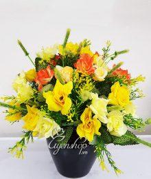 Hoa lụa, hoa giả Uyên shop, Bình hoa hồng nhí