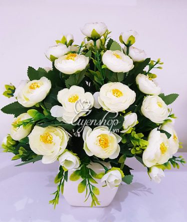 Hoa lụa, hoa giả Uyên shop, Hoa trà trắng xinh