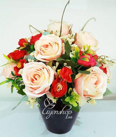 Hoa lụa, hoa giả Uyên shop, Hoa hồng để bàn