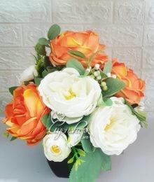 Hoa lụa, hoa giả Uyên shop, Hồng Trà màu cam