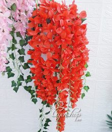 Hoa lụa, hoa giả Uyên shop, Hoa Lan Đỗ Quyên đỏ