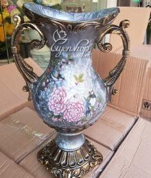 Hoa lụa, hoa giả Uyên shop, Bình hoa màu xanh ngọc bích
