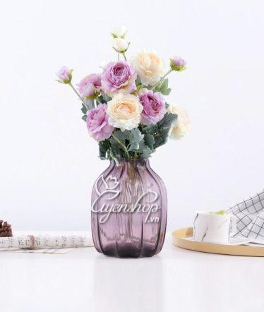 Hoa lụa, hoa giả Uyên shop, Lọ thủy tinh tím