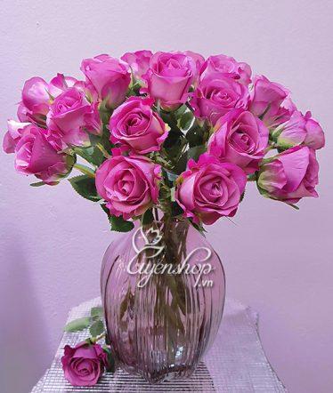 Hoa lụa, hoa giả Uyên shop, Nhẹ nhàng cùng Hồng tím