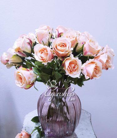 Hoa lụa, hoa giả Uyên shop, Tươi trẻ cùng sắc Hồng