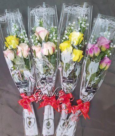 Hoa lụa, hoa giả Uyên shop, Bó Hoa Hồng Xinh