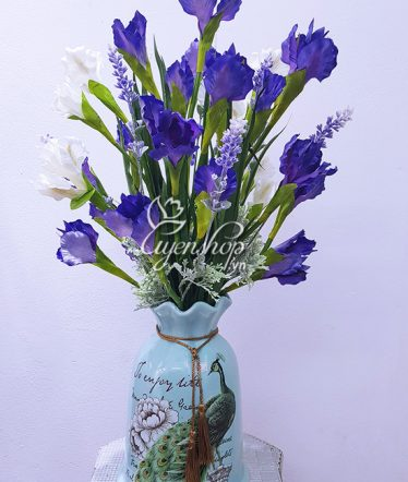 Hoa lụa, hoa giả Uyên shop, Bình Hoa Diên Vỹ