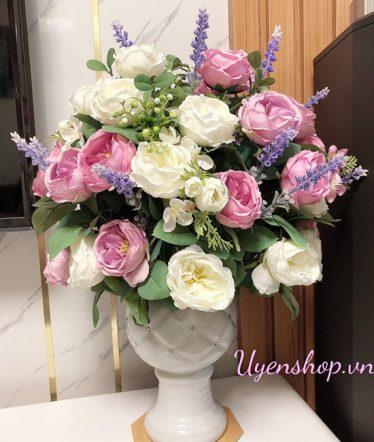 Hoa lụa, hoa giả Uyên shop, Nhẹ Nhàng với sắc Tím