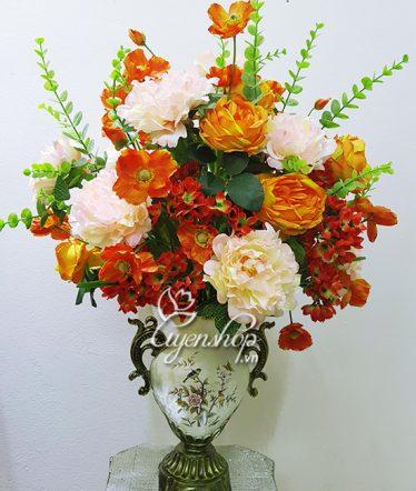Hoa lụa, hoa giả Uyên shop, Bình hoa Mẫu Đơn
