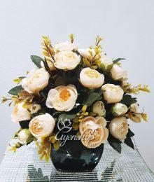 Hoa lụa, hoa giả Uyên shop, Hoa Trà màu kem