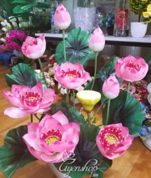 Hoa lụa, hoa giả Uyên shop, Bình hoa Sen Thái