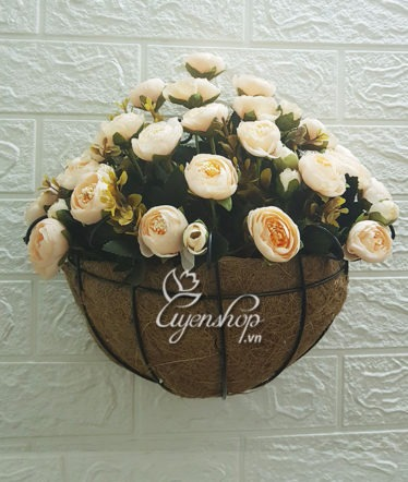 Hoa lụa, hoa giả Uyên shop, Giỏ hoa treo tường hoa Trà