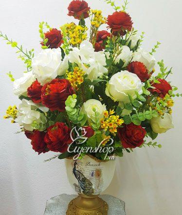 Hoa lụa, hoa giả Uyên shop, Sắc đỏ may mắn