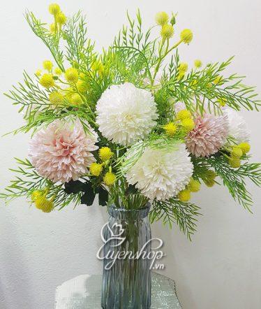 Hoa lụa, hoa giả Uyên shop, Bình bông Tú Cầu