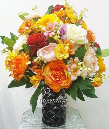 Hoa lụa, hoa giả Uyên shop, Rực rỡ với màu cam