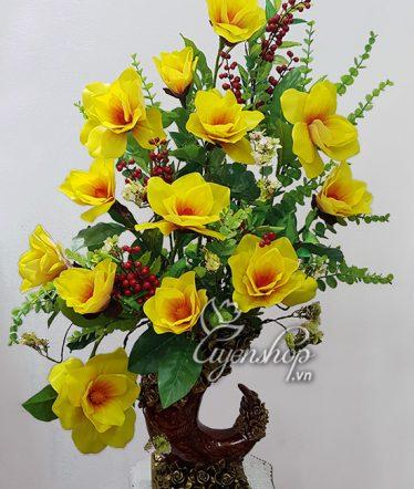 Hoa lụa, hoa giả Uyên shop, Bình hoa Mộc Lan vàng