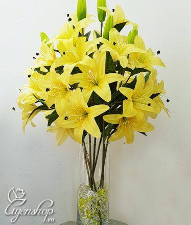 Hoa lụa, hoa giả Uyên shop, Bình Hoa Ly Vàng