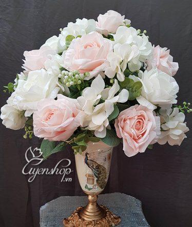 Hoa lụa, hoa giả Uyên shop, Hoa để bàn sang trọng