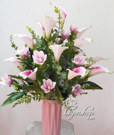 Hoa lụa, hoa giả Uyên shop, Bình Hoa Rum Tím