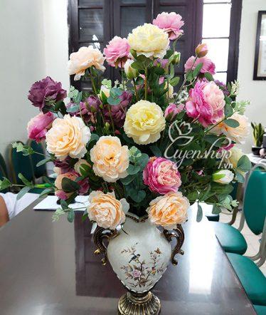 Hoa lụa, hoa giả Uyên shop, Bình Hoa Trà Đẹp