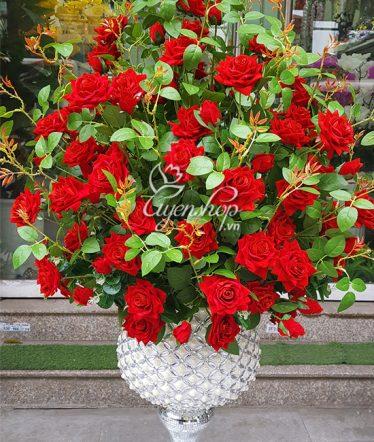Hoa lụa, hoa giả Uyên shop, Bình Hoa Hồng Nhung Đẹp
