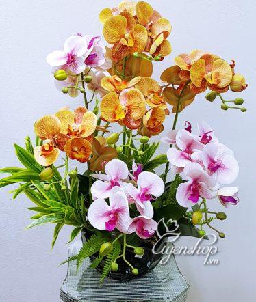 Hoa lụa, hoa giả Uyên shop, Chậu Lan Hồ Điệp cao cấp