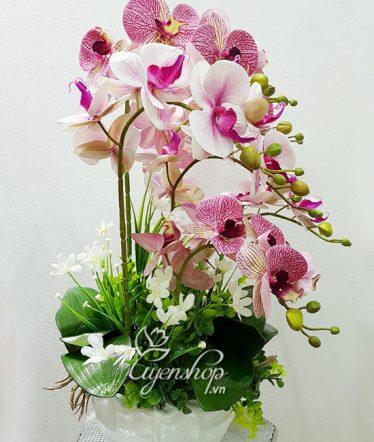Hoa lụa, hoa giả Uyên shop, Sang trọng với Lan hồng
