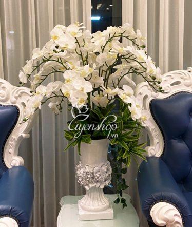 Hoa lụa, hoa giả Uyên shop, Lan Trắng Tinh Khôi