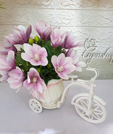 Hoa lụa, hoa giả Uyên shop, Xe đạp hoa Ngọc Lan