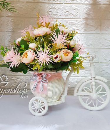 Hoa lụa, hoa giả Uyên shop, Xe đạp hoa xinh