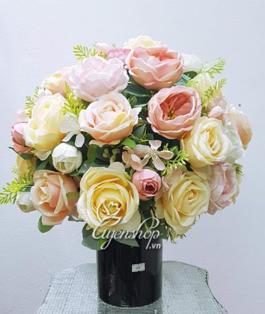Hoa lụa, hoa giả Uyên shop, Bình Hoa Hồng