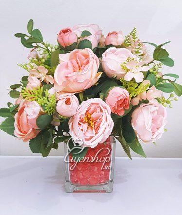 Hoa lụa, hoa giả Uyên shop, Bình Hoa Trà David