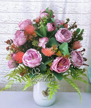 Hoa lụa, hoa giả Uyên shop, Hoa Trà tím mộng mơ