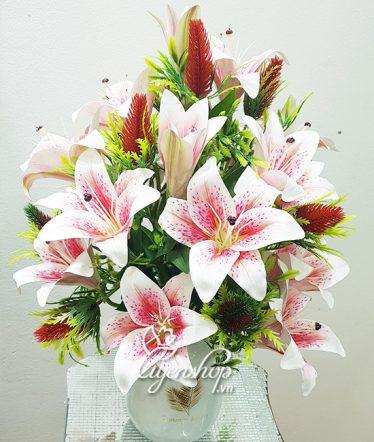 Hoa lụa, hoa giả Uyên shop, Bình Hoa Ly hồng