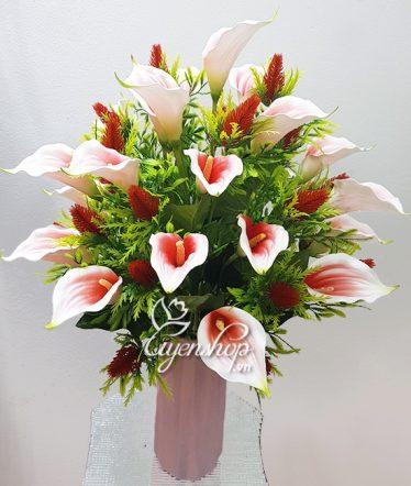 Hoa lụa, hoa giả Uyên shop, Bình hoa Rum hồng