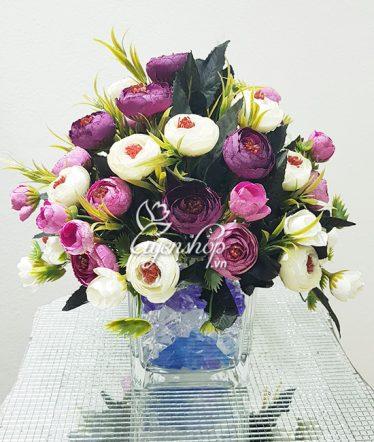 Hoa lụa, hoa giả Uyên shop, Hoa Trà để bàn