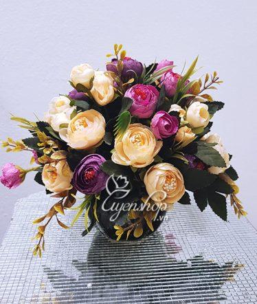 Hoa lụa, hoa giả Uyên shop, Hoa Trà xinh để bàn