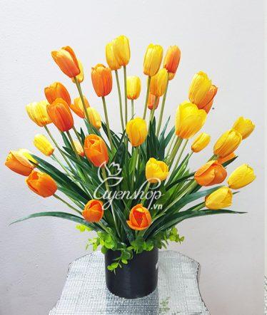Hoa lụa, hoa giả Uyên shop, Bình Tulip vàng