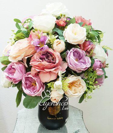 Hoa lụa, hoa giả Uyên shop, Bình Hồng Trà xinh