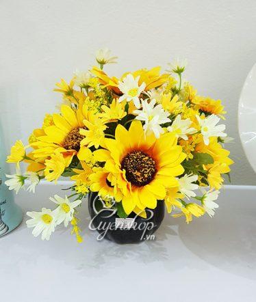 Hoa lụa, hoa giả Uyên shop, Bình Hướng Dương nhỏ