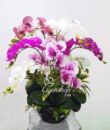Hoa lụa, hoa giả Uyên shop, Bình Lan nhiều màu