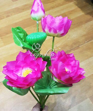 Hoa lụa, hoa giả Uyên shop, Cụm sen Việt Nam