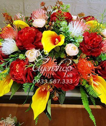 Hoa lụa, hoa giả Uyên shop, Hoa bàn họp tròn