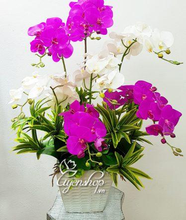 Hoa lụa, hoa giả Uyên shop, Bình Lan trắng tím Sang trọng