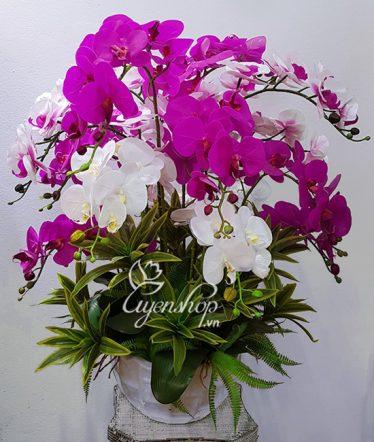 Hoa lụa, hoa giả Uyên shop, Bình Lan Hồ Điệp lớn
